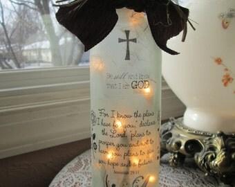 Lighted Wine Bottles, Christian, christian gifts, wine bottles, wine bottle decor, decorated bottles, wine bottle lights, wine bottle lamps