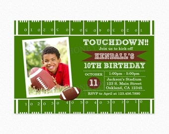 Football Birthday Party Invitation, Green, Brown, Boy, Football Invite, Personalized, Printable and Printed