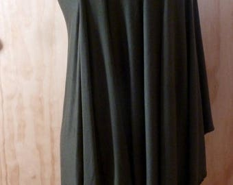 Dark gray jersey one shoulder top with stitch detail in back /handmade to order by Cheryl Johnston