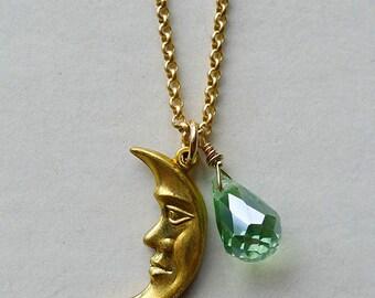 Seafoam Moonlight // Dainty Vintage Gold Crescent Moon Pendant Necklace w/ Aqua Sea Green Crystal Celestial Bohemian Witchy Gemstone Hippie