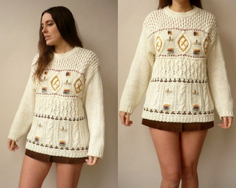 1990's Vintage Hand Crafted Aztec Pattern Knitted Jumper