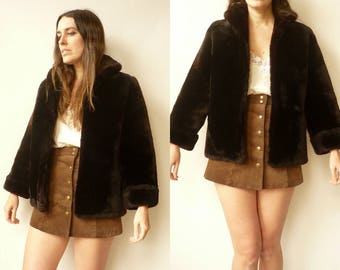 1950's Vintage Dark Brown Furry Shearling Plush Chubby Jacket Coat Size Small