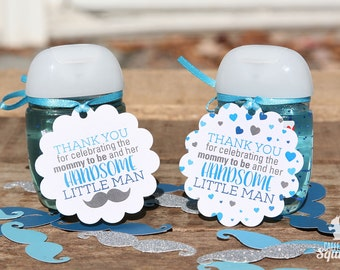 Thank You for Celebrating the Mommy to Be and Her HANDSOME Little Man Tags, Baby Showers, Baby Boy, Mustache, Hearts