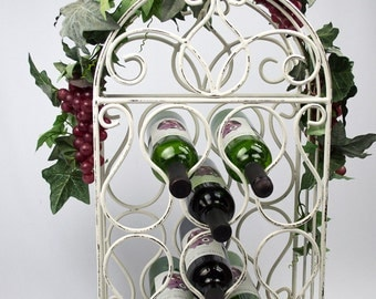 Iron Wine Rack for 10 Bottles Distressed White