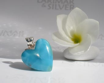 Larimar heart pendant by Larimarandsilver, Tunnel of Love - Caribbean blue Larimar heart, ocean blue heart, love handcrafted Larimar pendant