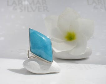 AAA Larimar ring size 7 by Larimarandsilver, Caribbean Diamond - azure Larimar lozenge, blue diamond ring, volcanic blue, mermaid diamond