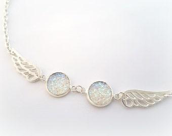 Silver angel wings bracelet, victorian fantasy druzy chain bracelet