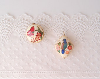 1970s Cloisonne bubble Pendants butterfly bird double-sided ivory white burgundy peach green blue enamel with gold trim