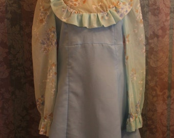 Sz M-L Baby Doll Soft Blue Floral and Satin Dress