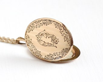 Antique Art Nouveau Rosy Yellow Gold Filled Large Flower Locket Pendant Necklace - Vintage Edwardian Early 1900s Oval Photograph Jewelry
