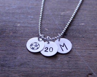 Hand Stamped Sterling Silver Soccer Necklace with Number and Initial, Silver Soccer Necklace,Soccer Team Gift,Senior Soccer Gift, Soccer Mom