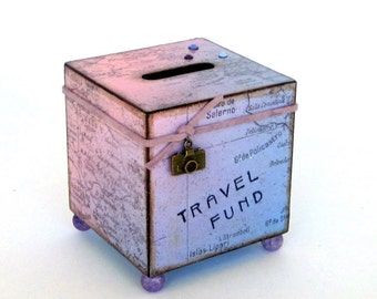 World Map Coin Bank Travel Vacation Decoupaged Wood Square Savings Bank Piggy Bank Pink Lavender Vintage Style Map