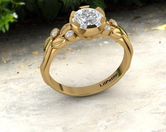 Handmade Flower Engagement Ring / Leaves Engagement Ring / Yellow Gold Moissanite Ring With Small Diamonds