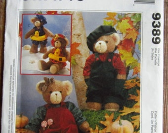 13 inch Bears with Clothing, Hats and Swimming Float McCalls Crafts Pattern 9389 UNCUT (Sara's)