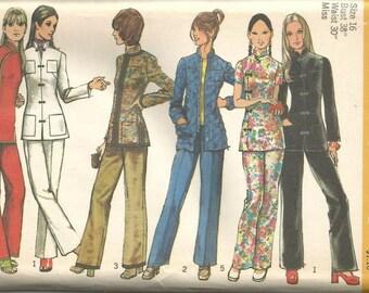 1970s Jacket Pants Cheongsam Qipao Mandarin Collar Sleeve Variations Simplicity 9961 Uncut FF Size 16 Bust 38 Women's Vintage Sewing Pattern