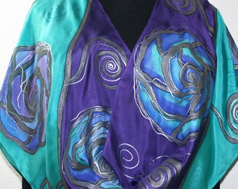 Silk Scarf Hand Painted in Purple, Teal, Periwinkle. Hand Dyed Silk Scarf PURPLE BLISS. Large 14x72. Birthday Gift, Gift-Wrapped