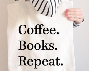 Book Lover, Book Lover Gift, Tote, Tote Bag, Personalized Tote Bag, Canvas Tote, Coffee, Coffee Lovers Gift, Cute Bag, Sister Gift, Book Bag