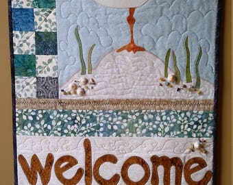 Appliquéd and Quilted Welcome Sign, Beach Theme, Embellished with shells, stones, glass beads, Fiber Art, Heirloom Quality, Quiltsy Handmade