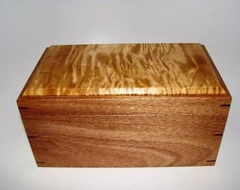 "Memory Box. Exotic Mahogany and Tiger Maple Keepsake Box. 10"" x 6"" x 4.75"". Handcrafted Wooden Memory Box. Silk Upholstered. Woman's Box."