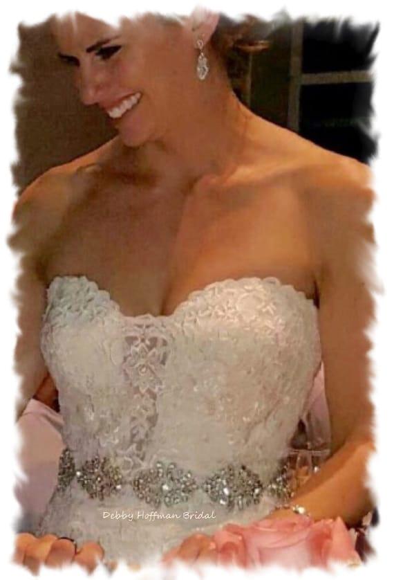 Bridal Sash, 24 Inch Rhinestone Crystal Wedding Dress Sash, Jeweled Wedding Belt, Vintage Style Wedding Belt, Wide Wedding Sash, No. 1171S8