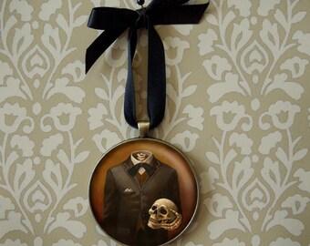 Gothic Ornament, Skull Ornament, Headless, Skeleton Decoration, Christmas, Portrait Miniature,
