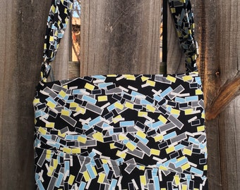 Cross Body Messenger Bag with zipper closure and lots of pockets - Black, turquoise and yellow