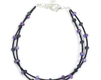 Womens Anklet Jewelry - Black and Purple - Womens Anklet - 9 to 10.5 Inches