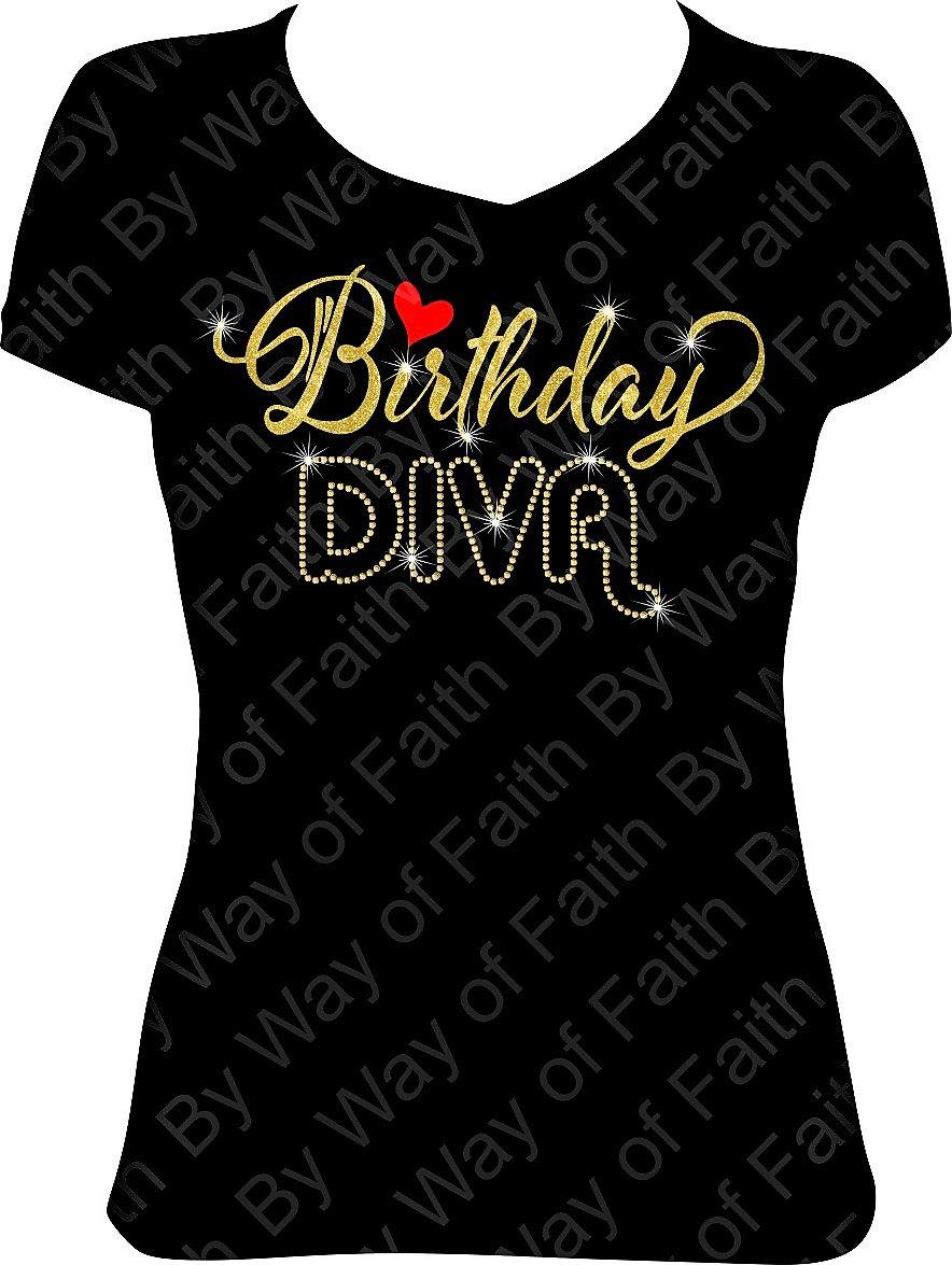 Birthday Diva W Heart Bling Rhinestone Glitter T Shirt