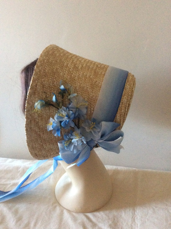 Regency/Victorian Straw Bonnet. Jane Austen. Blue Vintage Trims