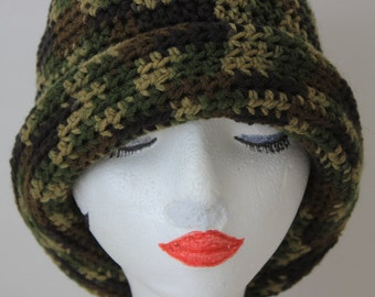 """Knitted """"Camouflage"""" Beanie, Slouchy Head Accessory, Boho-chic"""