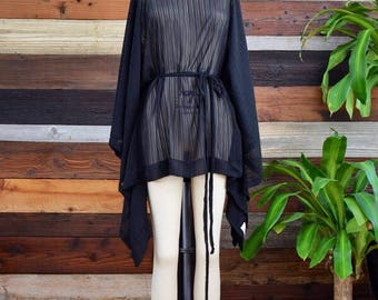 READY to SHIP -Small Striped Black Chiffon Short Draped Sheer Coverup with Belt - Beach Cover Up - Kaftan - Kimono - Swimsuit Cover Up