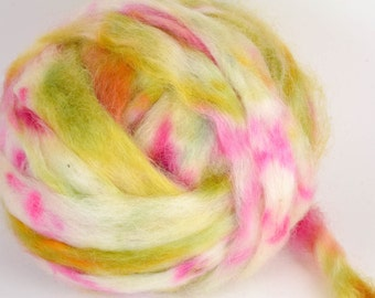 Wensleydale Roving Spinning and Felting Fiber Hand Dyed FARM WOOL 4 oz Colorway- Tea Party