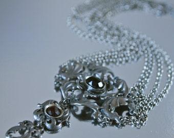 Austrian Edwardian Necklace Sterling Silver and Genuine Garnet Festoon