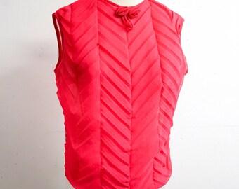 1960s Hot pink chevron pleat sheer blouse / 60s 70s Fuschia sleeveless nylon top - S M