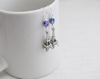 Eiffel Tower Earrings, Paris Earrings, French Earrings, Paris France, Purple and Blue Earrings, Dangle Earrings,Gift for Her,Silver Earrings
