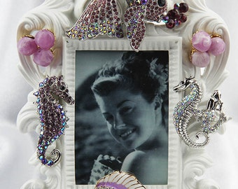 Gorgeous, Jeweled, Purple Rhinestones and Crystals on a Sealife Themed White, Ornate Picture Frame, All Occasion Gift