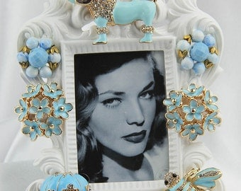 Adorable Blue Poodle Crystals  on an Ornate White Picture Frame, All Occasion Gift