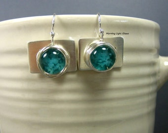 Aqua Glass & Sterling Silver Dangle Earrings - Dainty - Elegant - Every Day Pair