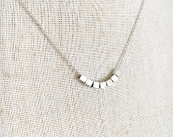 14k White Gold Filled, Tiny Square Beads, Silver Beaded Necklace, Simple Minimal Jewelry, Modern Layering Necklace, Gift for Friend Sister