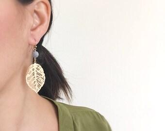 Gold Leaf Earrings, Blue Sodalite Stone Drops, Long Leaves, Semi Precious Stones, Boho Bohemian Jewelry, Long Dangle Earrings, Gift For Her