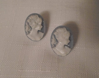BLUE CAMEO EARRINGS / Pierced / Lucite / Retro / Fashionista / Classic / Traditional / Downton Abbey / Edwardian / Victorian / Accessories