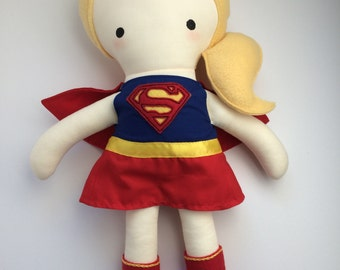 Supergirl - Handmade Doll - Cloth Doll - Geek Doll - Comic Book Doll - Pop Culture Doll - Fangirl