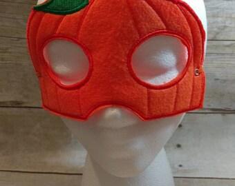 Felt Mask, Mask, Pumpkin Mask, Felt Pumpkin Mask, Orange Mask, Costume Mask, Kids Mask, Machine Stitched, Child Mask, Dress Up Mask