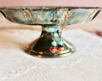 Tangerine orange bead, multi color rhinestone, and turquoise glass bead drop earrings, kidney wire earrings