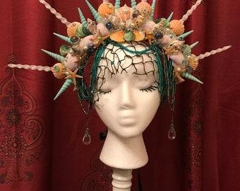 Mermaid of the Sea - Pastel Shells pearls spikes crystal bead crown headdress headpiece Unique  fairy boho burning man photoshoot fascinator