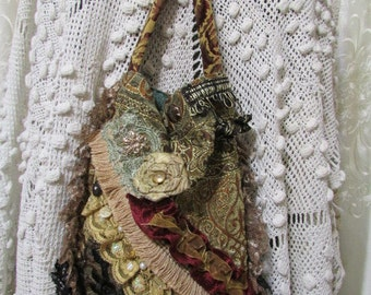 Small Gypsy Handbag, handmade fancy baroque renaissance embellished beads buttons lace SMALL