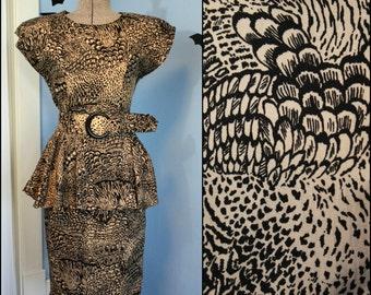 Vintage Womens 80s does 40s Pin Up Peplum Wiggle Dress Modern Size Medium Abstract Print Retro Joni Blair