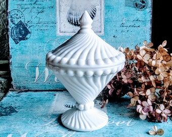 Swirl and Ball Milk Glass Candy Dish by Westmoreland / Milk Glass Candy Dish / Candy Bar Buffet / Westmoreland Milk Glass