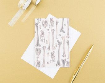 Bone Print Blank Card // Gifts for Medical Students - Anatomy Print - Blank Greeting Card - Graduation Card - Halloween Card