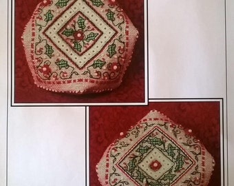 Holiday Holly Biscournu Pincushion Designed Kit by Sandra Cox Vanosdall for The Sweetheart Tree